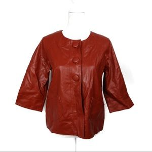 T674 Mountain Lake Petite Red Faux Leather Jacket